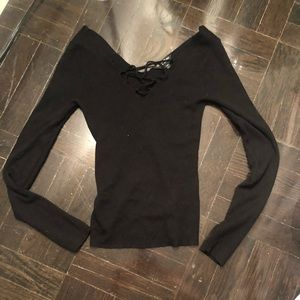 Miss Selfridge Size 4 black low cut sweater